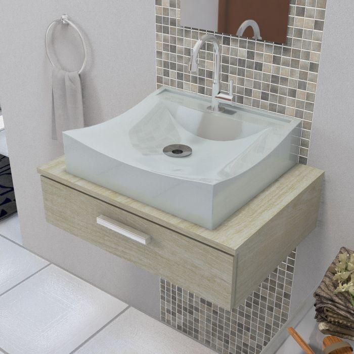Cuba de Apoio Para Banheiro e Lavabo Modelo Romana Cinza