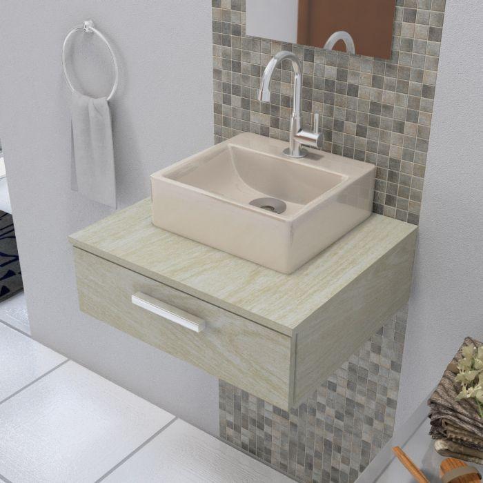 Cuba De Apoio Para Banheiro Modelo Delta Bege