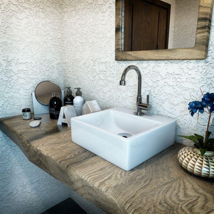 Cuba De Apoio Para Banheiro Modelo Delta Branco