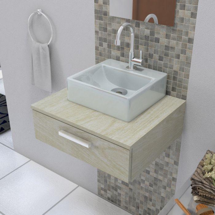 Cuba De Apoio Para Banheiro Modelo Delta Cinza
