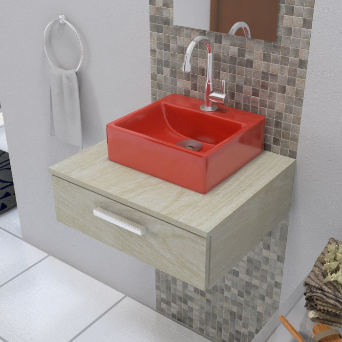 Cuba De Apoio Para Banheiro Modelo Delta Vermelho