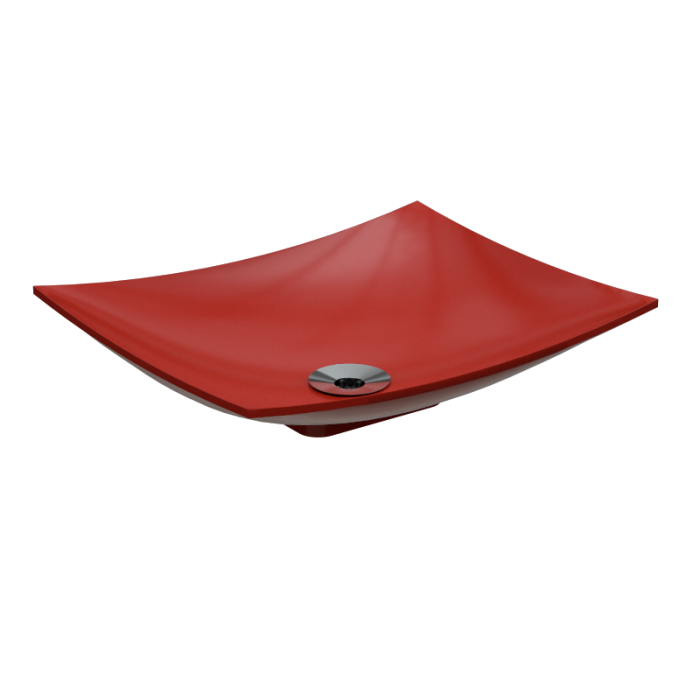 Cuba de Apoio Para Banheiro Modelo Folha Vermelha