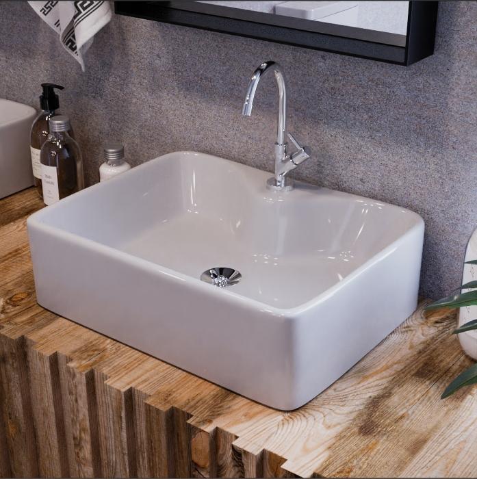 Cuba de Apoio Para Banheiro Modelo Prisma Branco 48x37