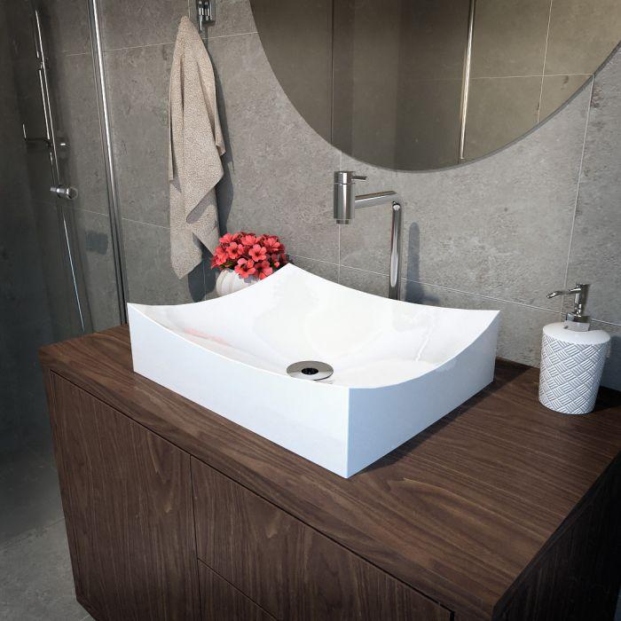 Cuba de Apoio Para Banheiro Modelo Milano 46 Cm Marmorite Branco
