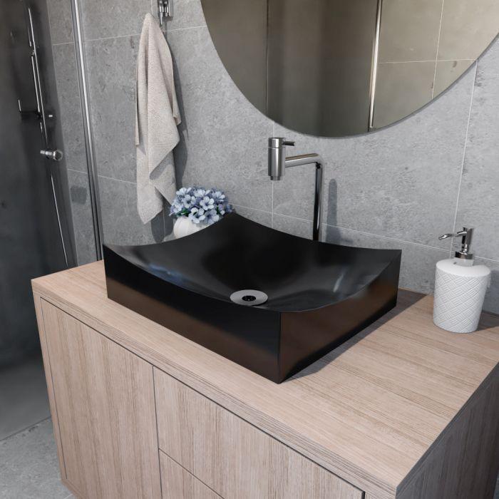 Cuba de Apoio Para Banheiro Modelo Milano 46 Cm Marmorite Preto