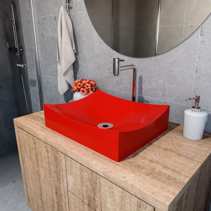 Cuba de Apoio Para Banheiro Modelo Milano 46 Cm Marmorite Vermelho