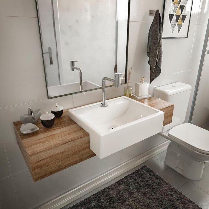 Cuba de Apoio Semi-encaixe Para Banheiro Modelo MO12 47Cm Marmorite Branco