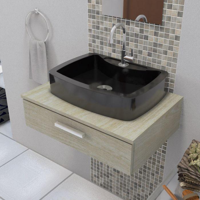 Cuba Pia de Apoio Para Banheiro e Lavabo Modelo Albani Preta