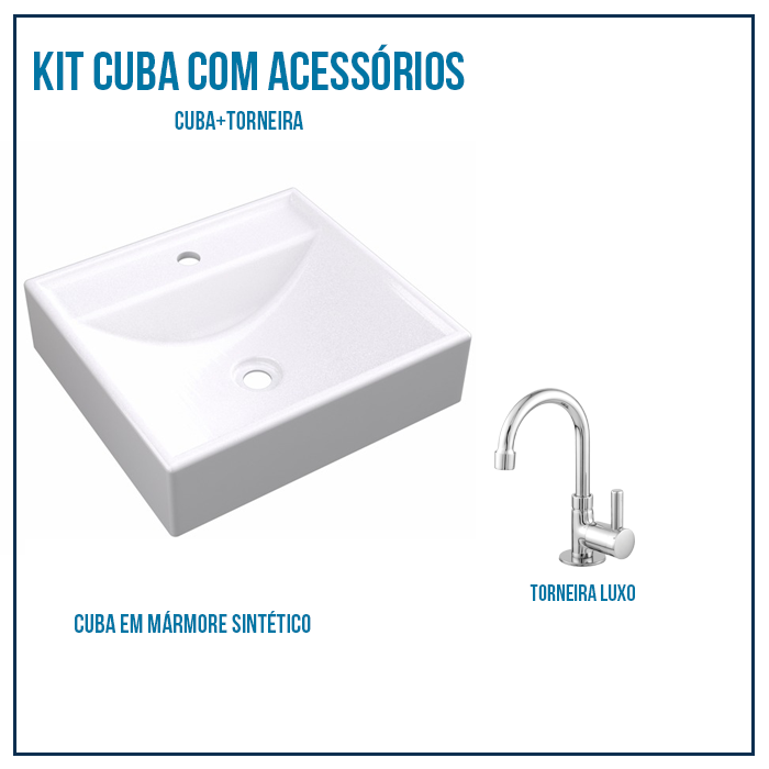 Kit Cuba  Para Banheiro Retangular Ravena Branca + Torneira Luxo 1/4 de volta