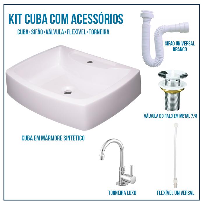 Kit Cuba Pia Para Banheiro Croy Albani 50 Cm + Válvula 7/8 + Torneira 1/4 + sifão + Flexível