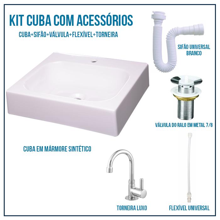 Kit Cuba de Banheiro, Croy, Nice 44 + Válvula + Torneira + sifão + Flexível