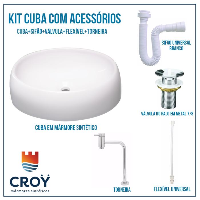 Kit Cuba de Banheiro, Croy, Oval 40 + Válvula + Torneira + sifão + Flexível