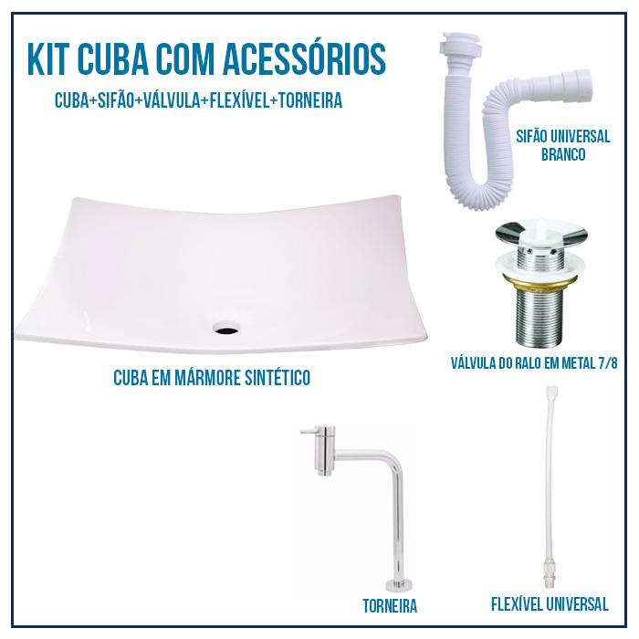 Kit Cuba de Banheiro, Croy, Folha 46 + Válvula + Torneira + sifão + Flexível