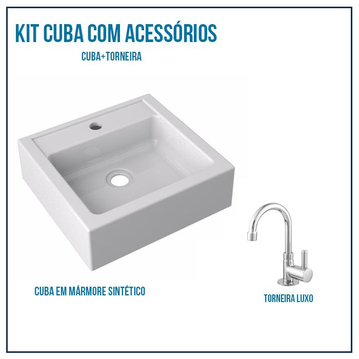 Kit Cuba Pia Para Banheiro Quadrado Jully 35 Cm + Torneira Luxo bica baixa 1/4