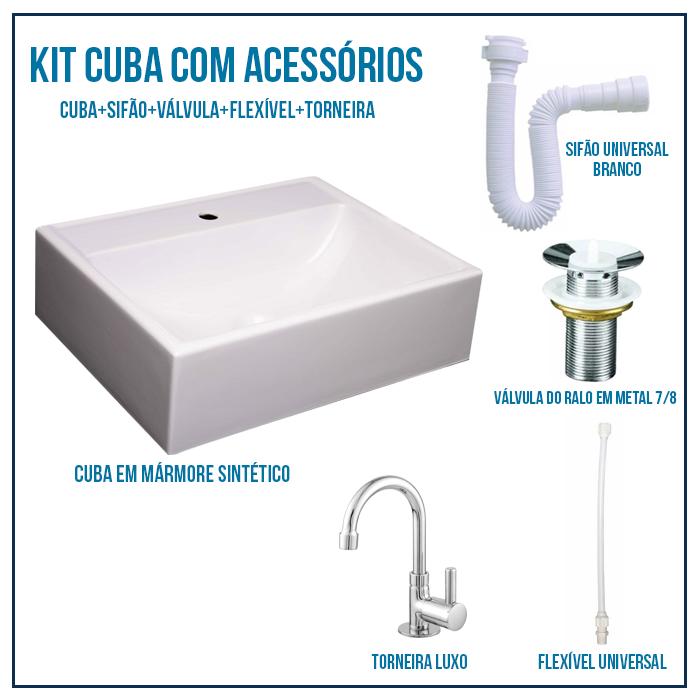 Kit Cuba Pia Para Banheiro Retangular Jacuzzi 47 cm + Válvula 7/8 + Torneira 1/4 + sifão + Flexível