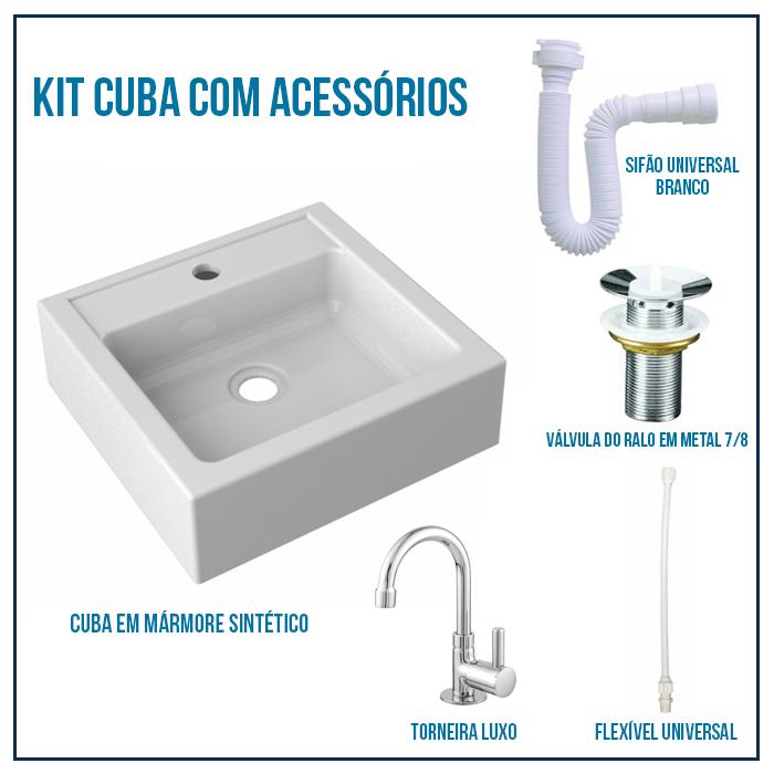 Kit Cuba Modelo Jully + Válvula 7/8 + Torneira 1/4 + sifão + Flexível