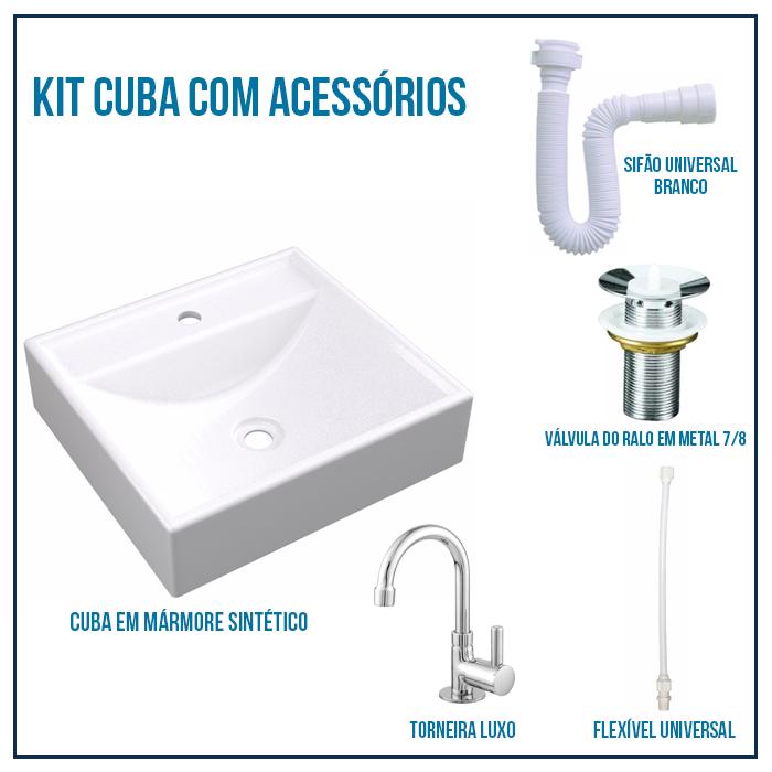 Kit Cuba Pia Para Banheiro Retangular Modelo Ravena + Válvula 7/8 + Torneira 1/4 + sifão + Flexível