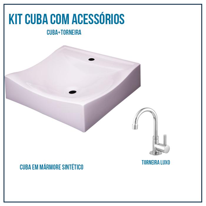 Kit Cuba Para Banheiro Retangular Romana + Torneira luxo 1/4 volta