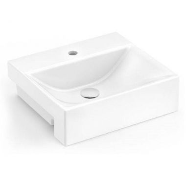 Cuba de Apoio  Semi-encaixe Para Banheiro Modelo Rv12 40 Cm Marmorite Branco