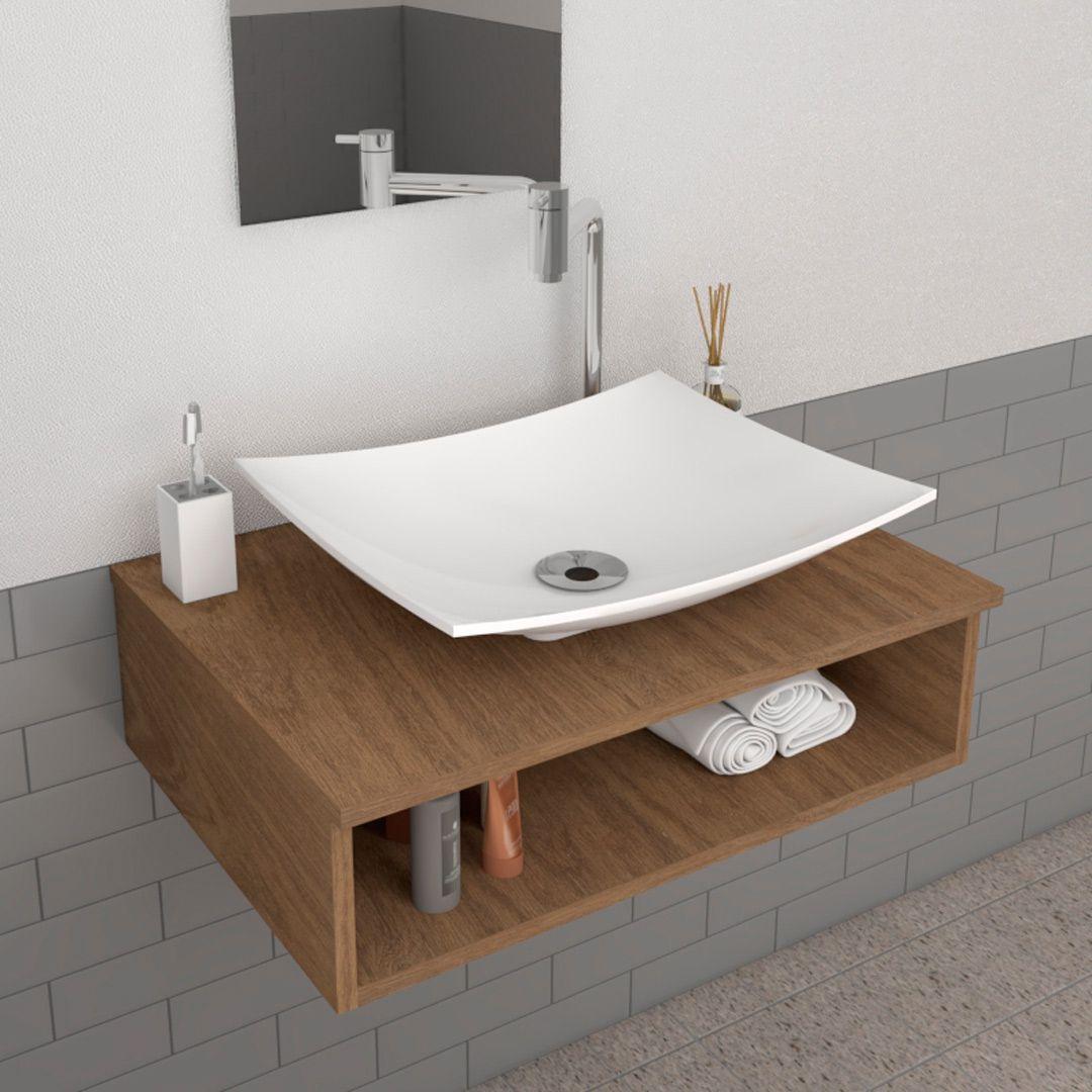 Cuba de Apoio Para Banheiro  Modelo Folha Branca