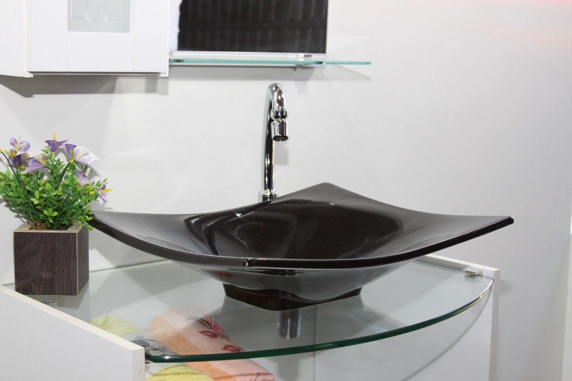Cuba de Apoio Para Banheiro Modelo Folha Preta