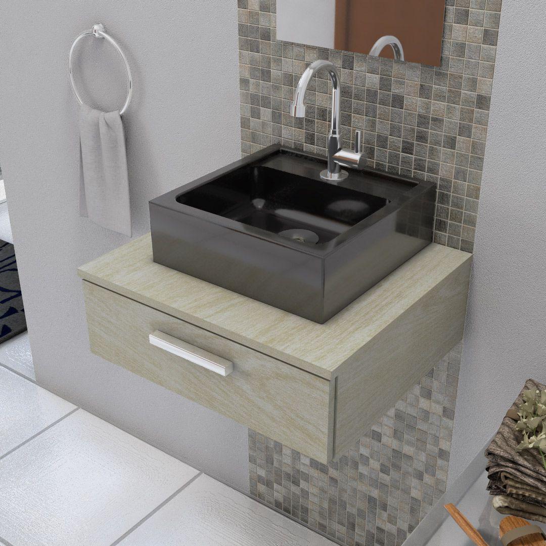 Cuba de Apoio para Banheiro Modelo Jully Preta