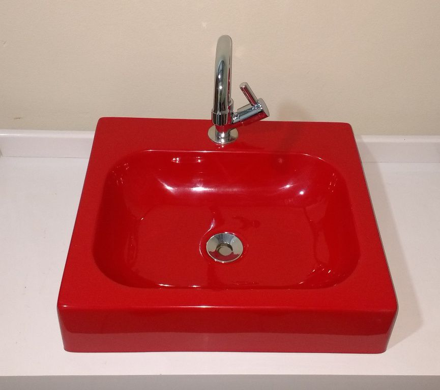 Cuba de Apoio para Banheiro e Lavabo Modelo Nice Vermelha