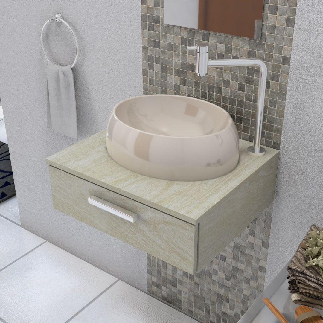 Cuba De Apoio Para Banheiro E Lavabo Modelo Oval Bege