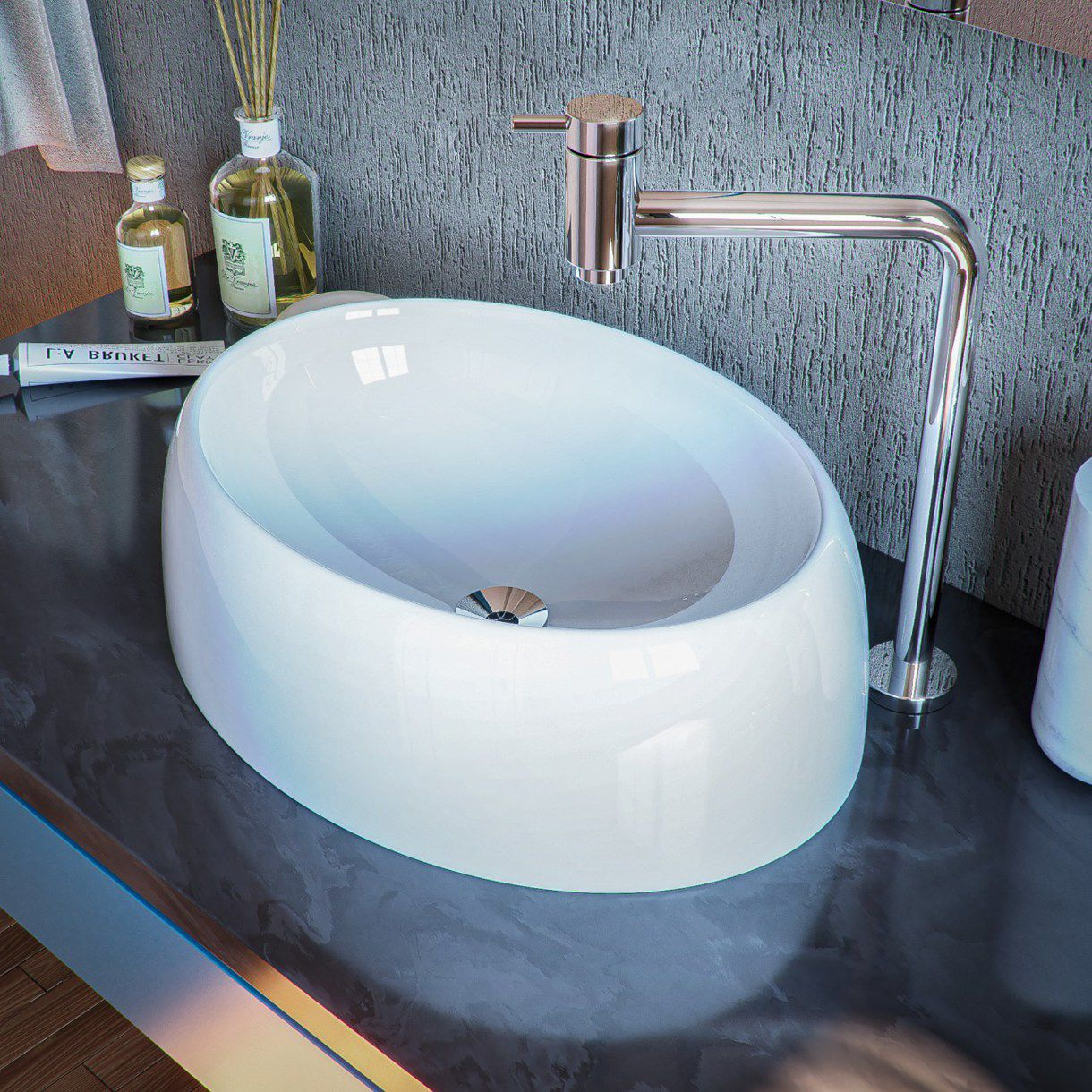 Cuba de Apoio para Banheiro e Lavabo Modelo Oval Branca