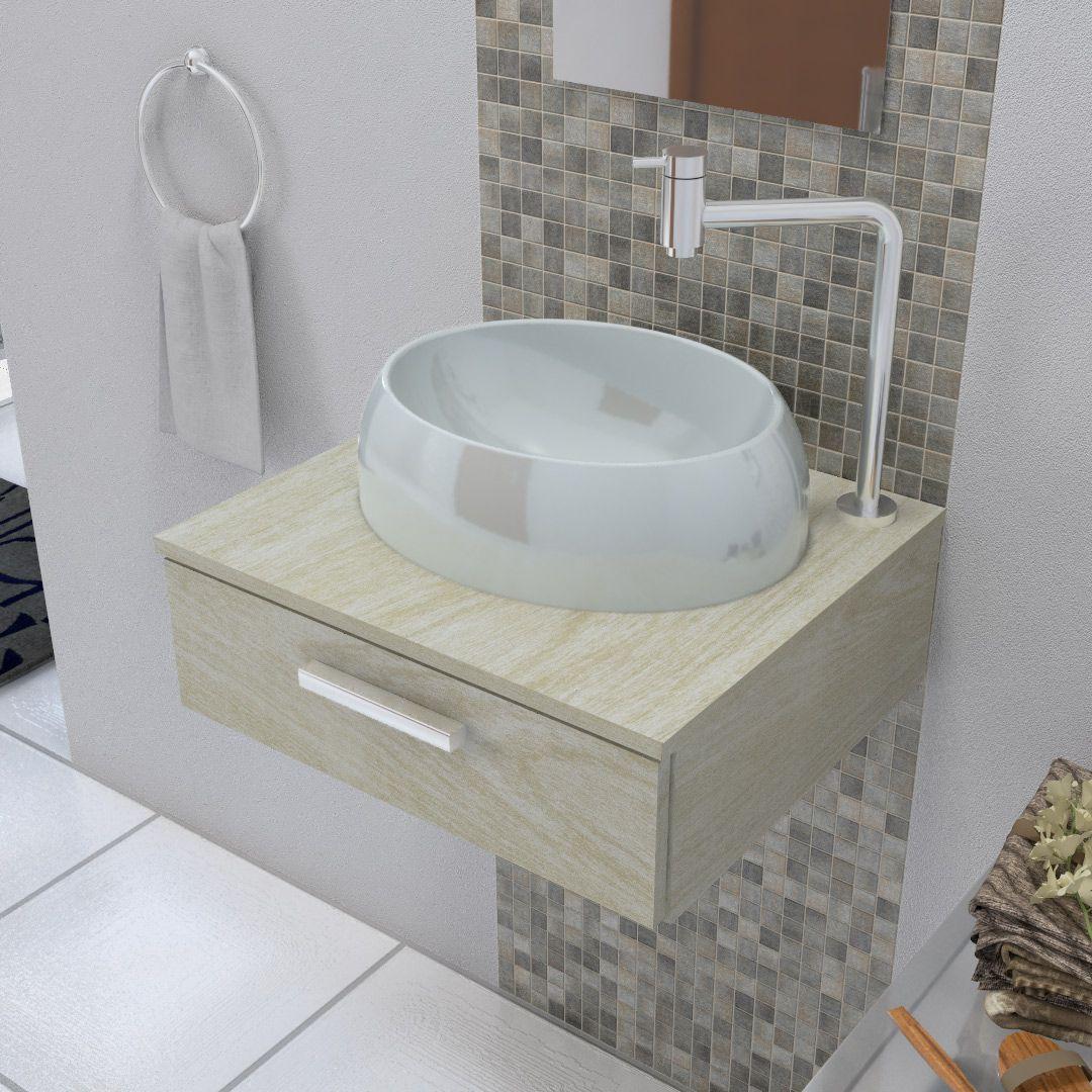 Cuba De Apoio Para Banheiro E Lavabo Modelo Oval Cinza