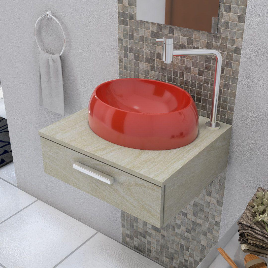 Cuba De Apoio Para Banheiro E Lavabo Modelo Oval Vermelha