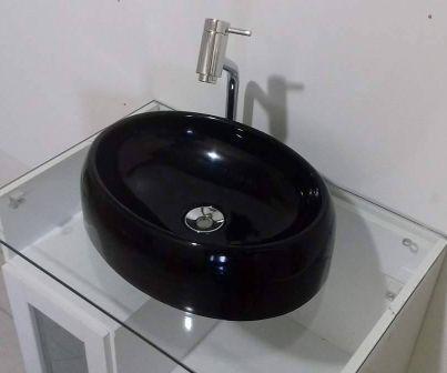 Cuba De Apoio Para Banheiro E Lavabo Modelo Oval Preto