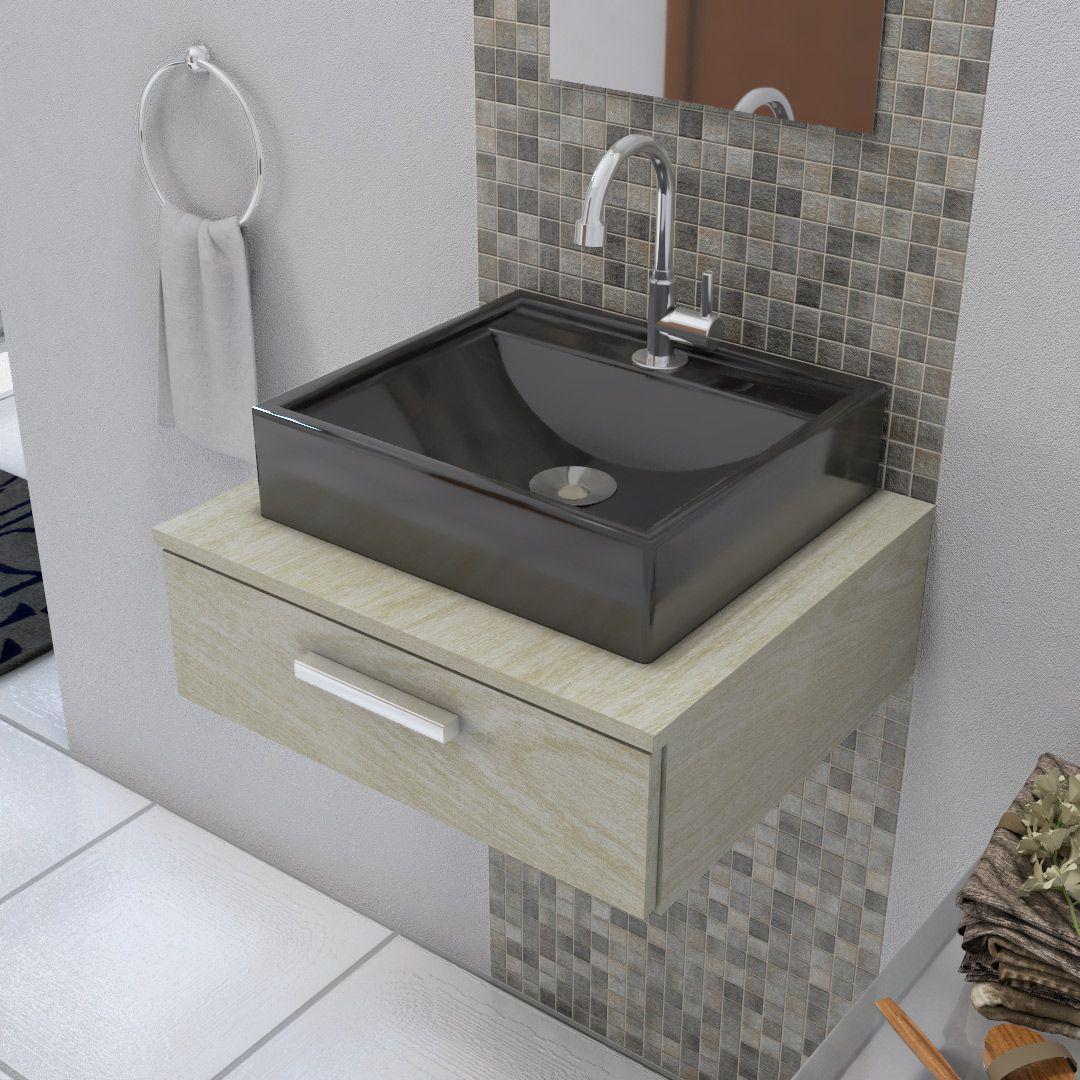Cuba de Apoio para Banheiro e Lavabo Modelo Ravena Preta
