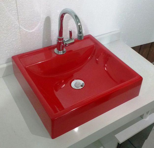 Cuba de Apoio para Banheiro e Lavabo Modelo Ravena Vermelha