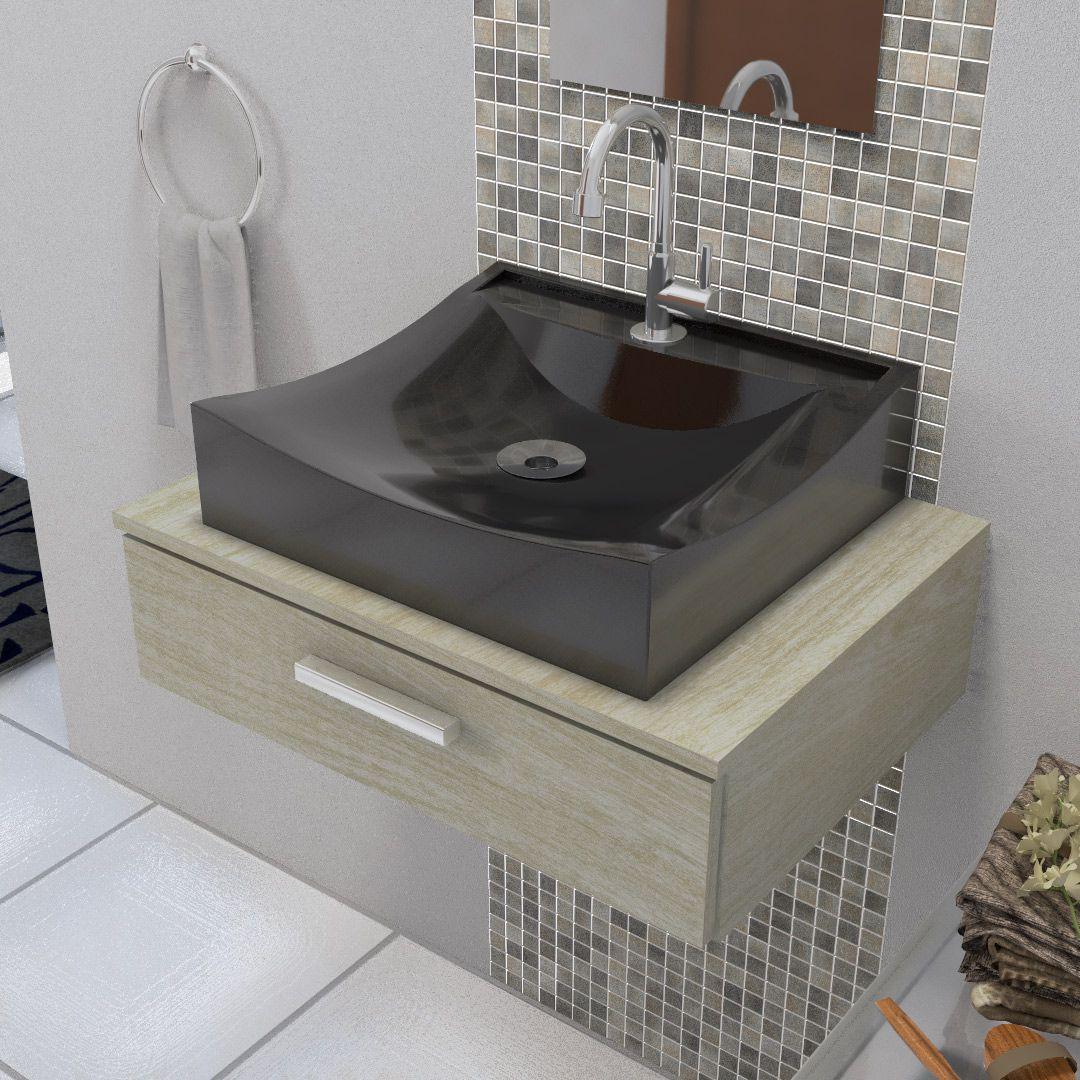 Cuba de Apoio Para Banheiro e Lavabo Modelo Romana Preto