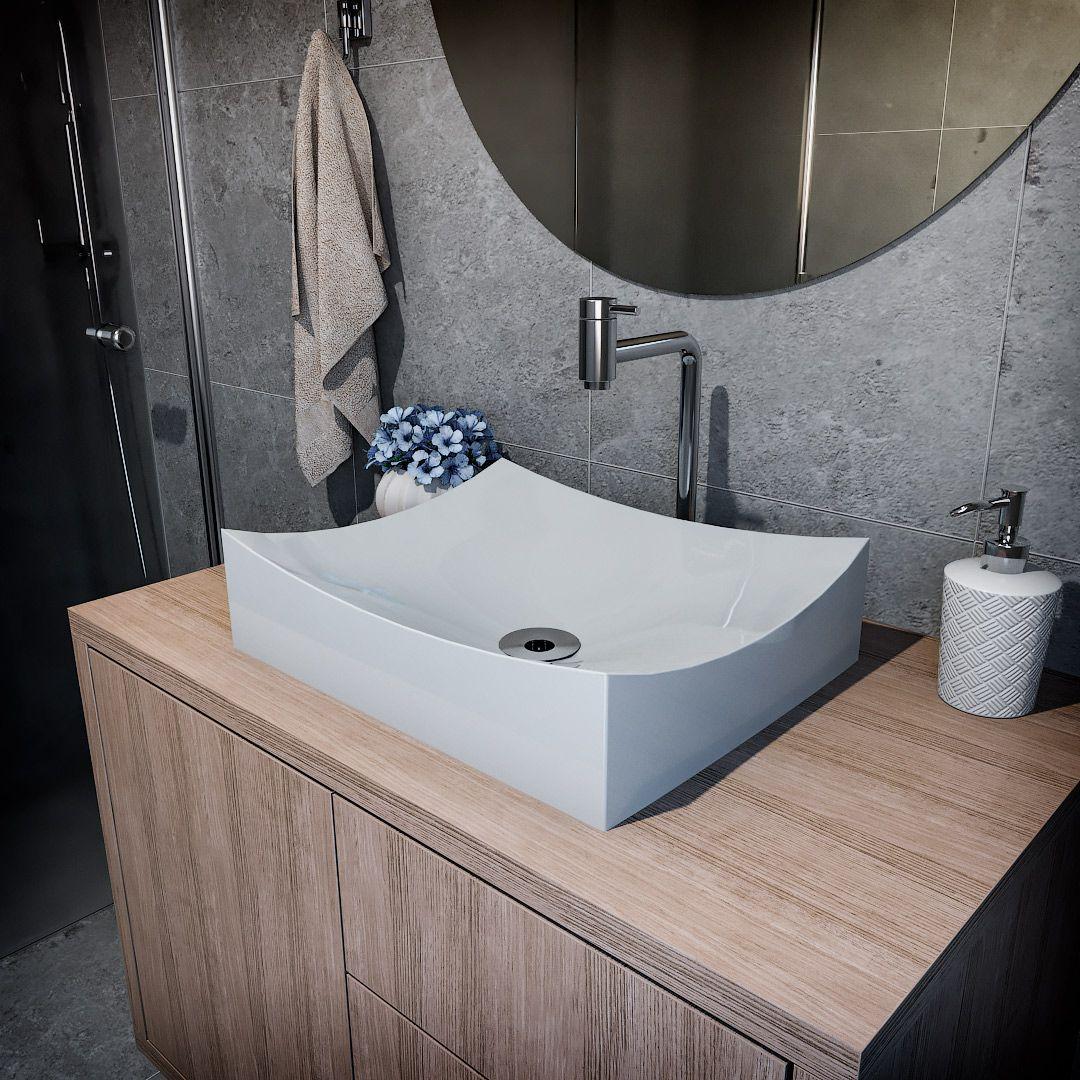 Cuba de Apoio Para Banheiro Modelo Milano 46 Cm Marmorite Cinza