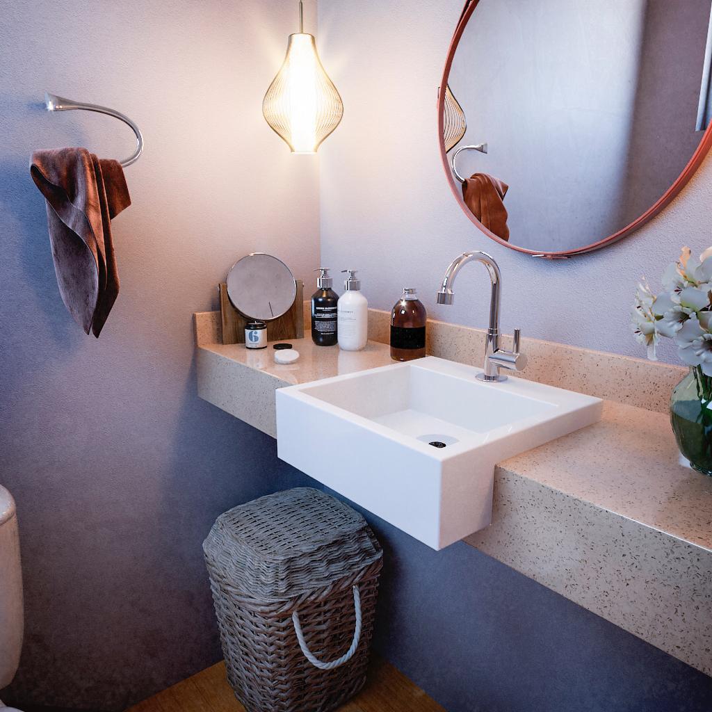 Cuba De Apoio Semi Encaixe Para Banheiro Modelo Fe12 35cm Marmorite Branco Croy Cubas E Pias De Banheiro