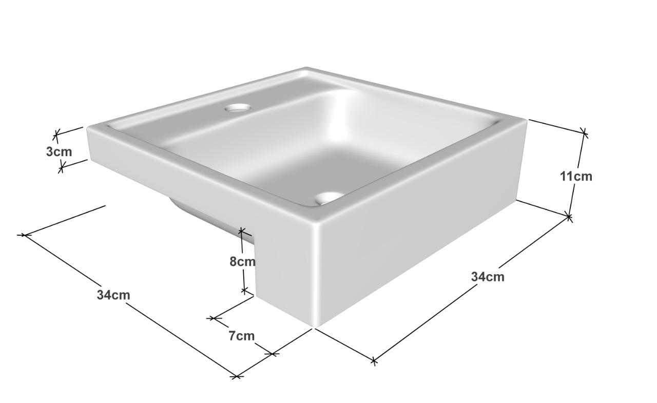 Cuba de Apoio  Semi-encaixe Para Banheiro Modelo Fe12 35Cm Marmorite Branco