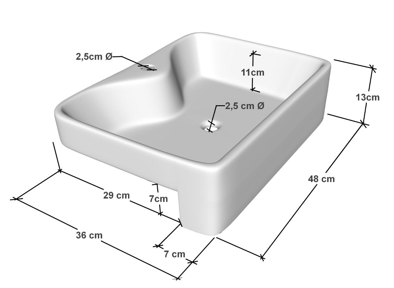 Cuba de Apoio Semi-encaixe Para Banheiro Modelo Pr13  47,5x36