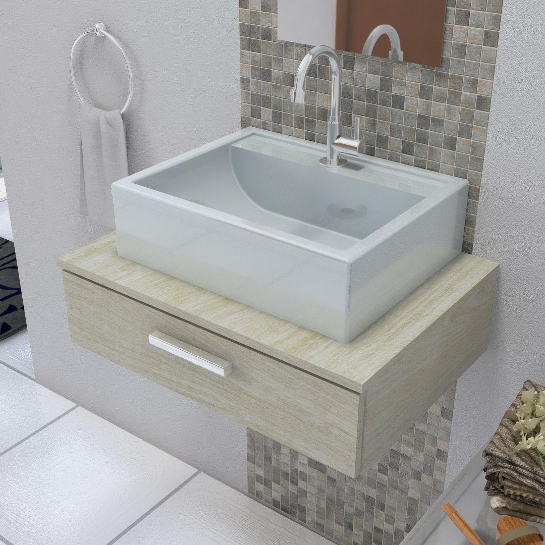 Cuba Pia de Apoio Para Banheiro Croy Jacuzzi 47 cm cinza