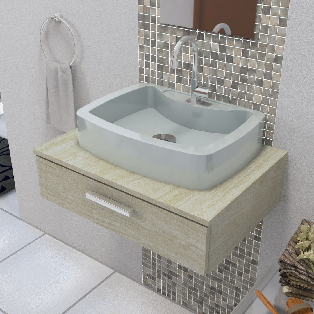 Cuba Pia de Apoio Para Banheiro e Lavabo Modelo Albani Cinza