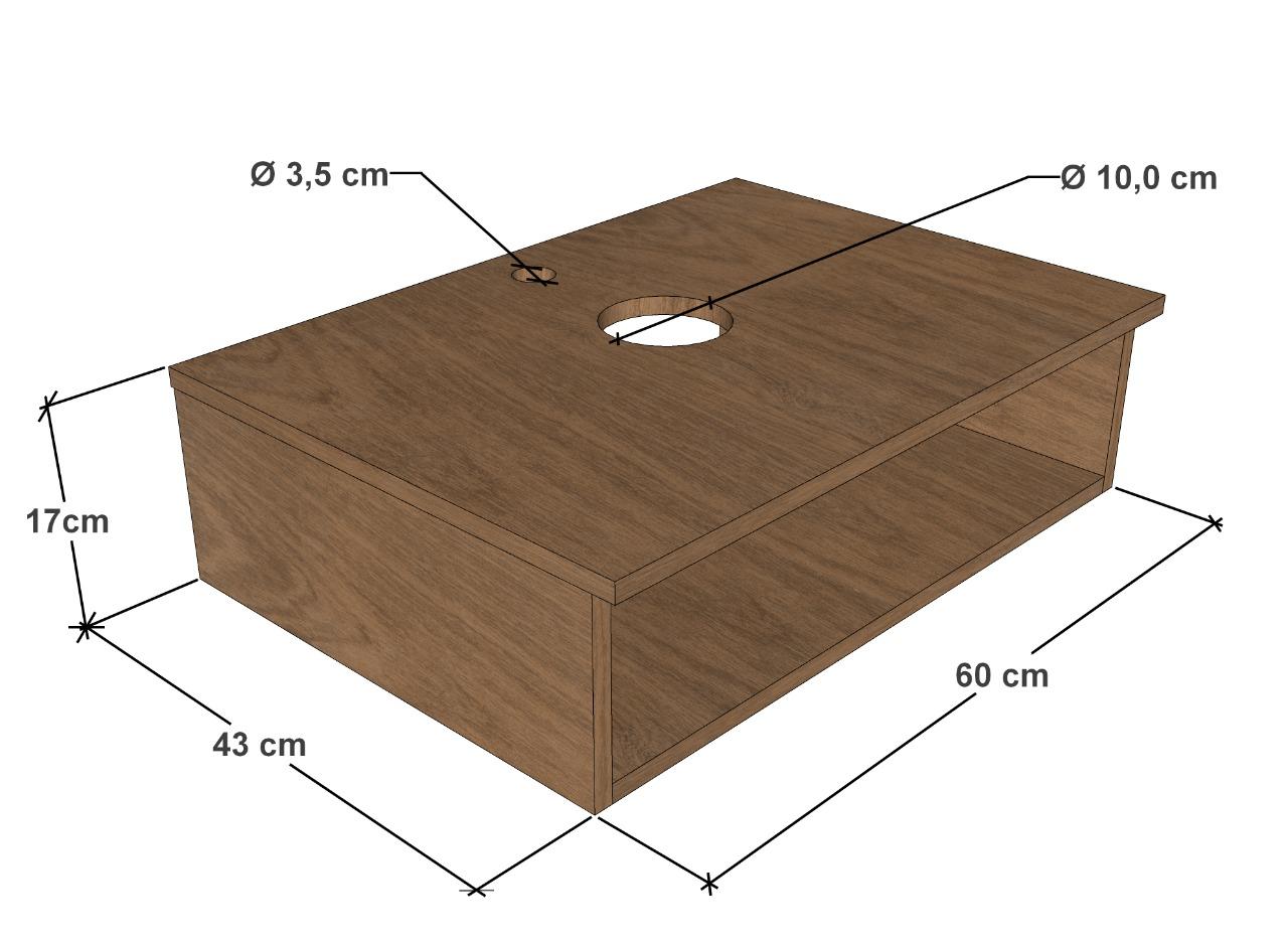 Kit Cuba Folha + Válvula + Sifão + Torneira soft alta + Flexível + Bancada Branca 60x43