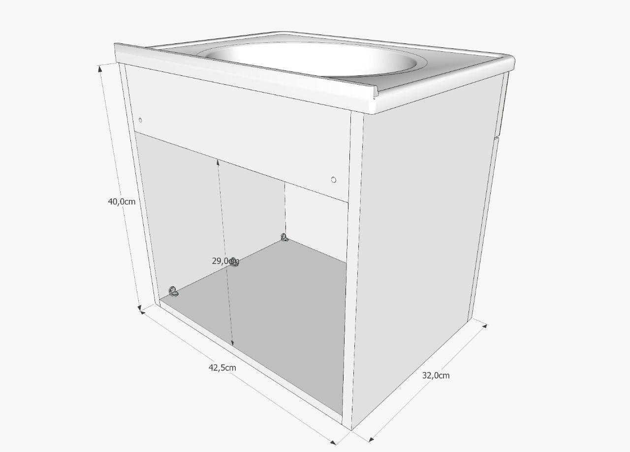 Kit Cuba + Gabinete Para Banheiro Modelo Portuguesa