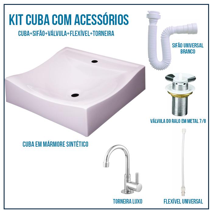 Kit Cuba de Banheiro, Croy, Romana 45 + Válvula + Torneira + sifão + Flexível