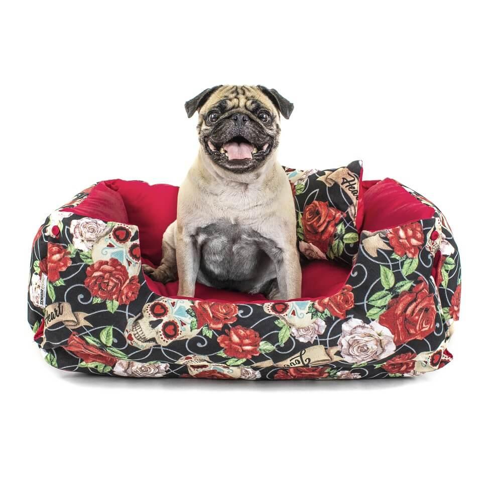 Cama Pet Cachorro Gato Dupla Face Lola - G - Caveiras Vermelho