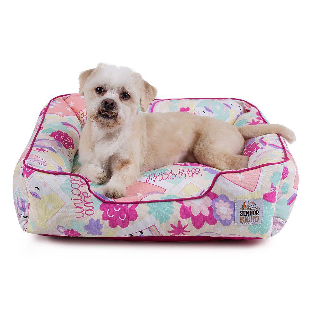 Cama Pet Cachorro Gato Composê Impermeável c/ Ziper - M - Unicórnio Pink