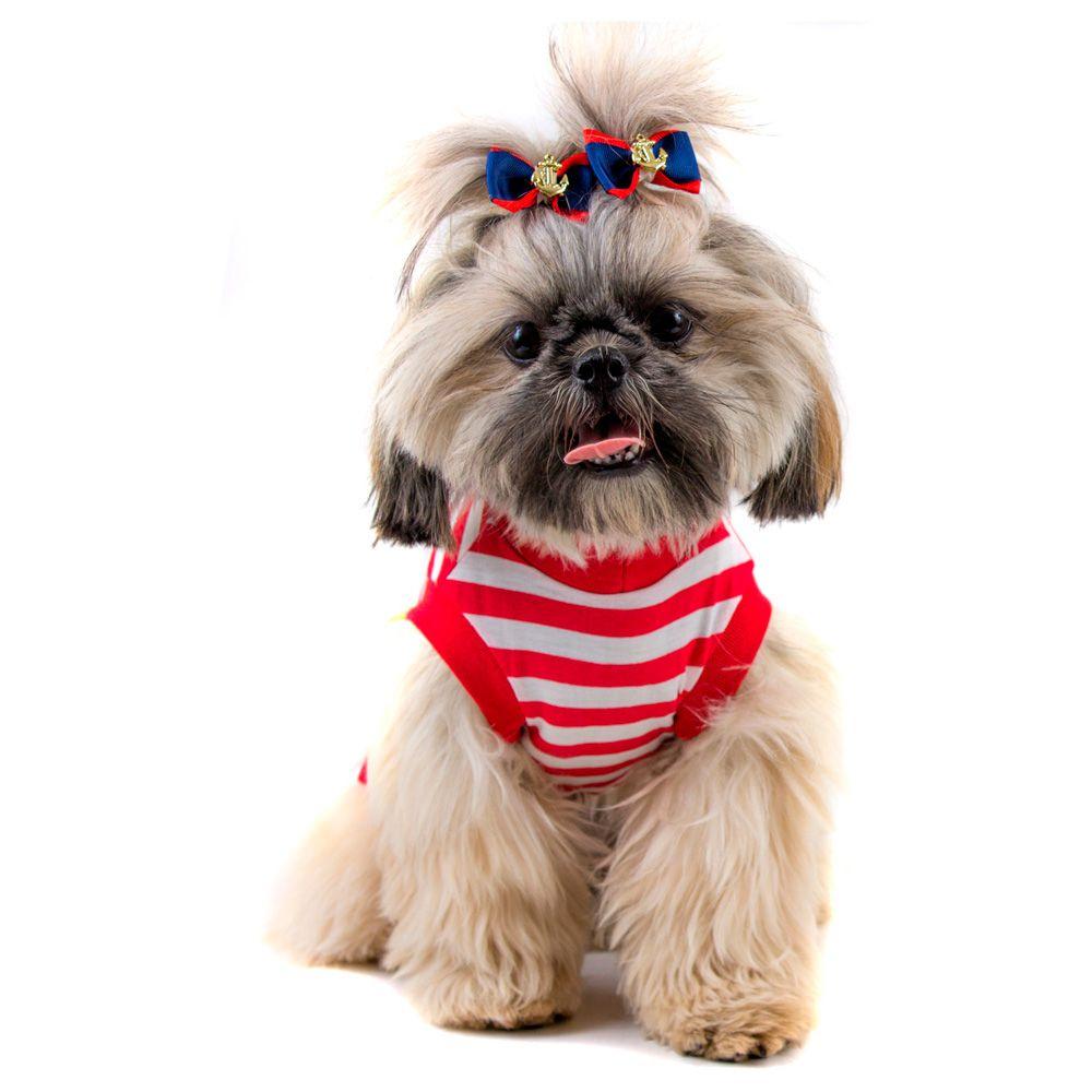 Camiseta Roupinha Pet Regata Listra Vermelha para Cachorro e Gato