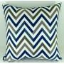 Capa almofada LYON Veludo estampado Chevron Azul 50x50cm