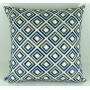 Capa almofada LYON Veludo estampado Quadrados Azul 43x43cm