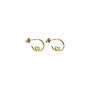 Brinco de Argola de Fio com detalhe Coração Folh a Ouro 18 K
